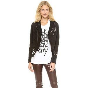 BLK DNM Black Suede Leather Moto Jacket w/Zippers